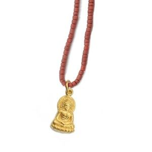 Coral Buddha Talisman Necklace